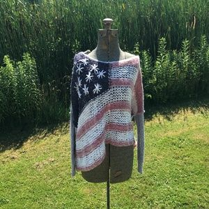 Free People American Flag Oversized Sweater